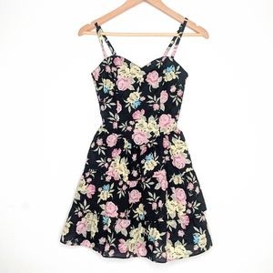 Floral Print Dress Spaghetti Strap Tiered Ruffle 6